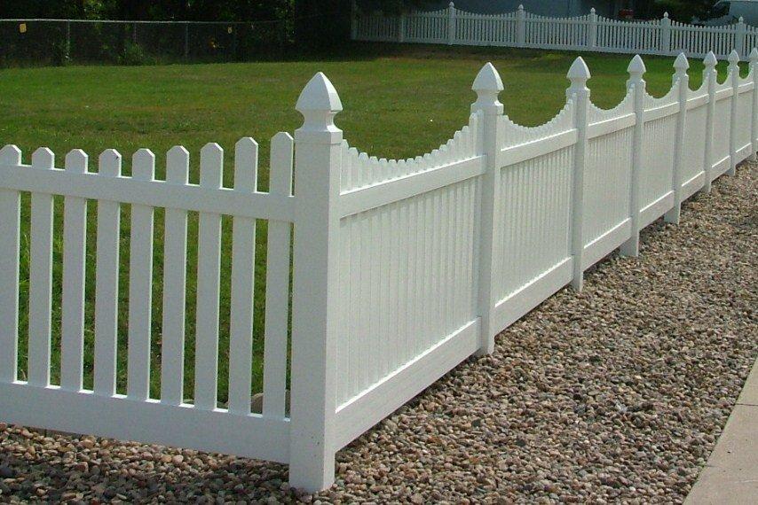 Dakota Fence & Deck 4' white scalloped down white pvc picket - Omaha and Papillion, Nebraska