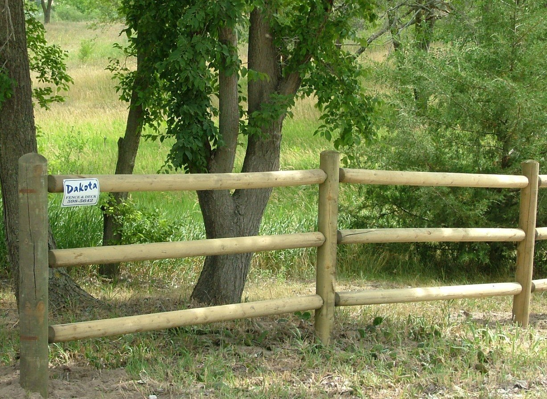 Dakota Fence & Deck wood 3 rail round rail - Omaha and Papillion, Nebraska