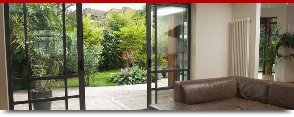 Open patio glass door