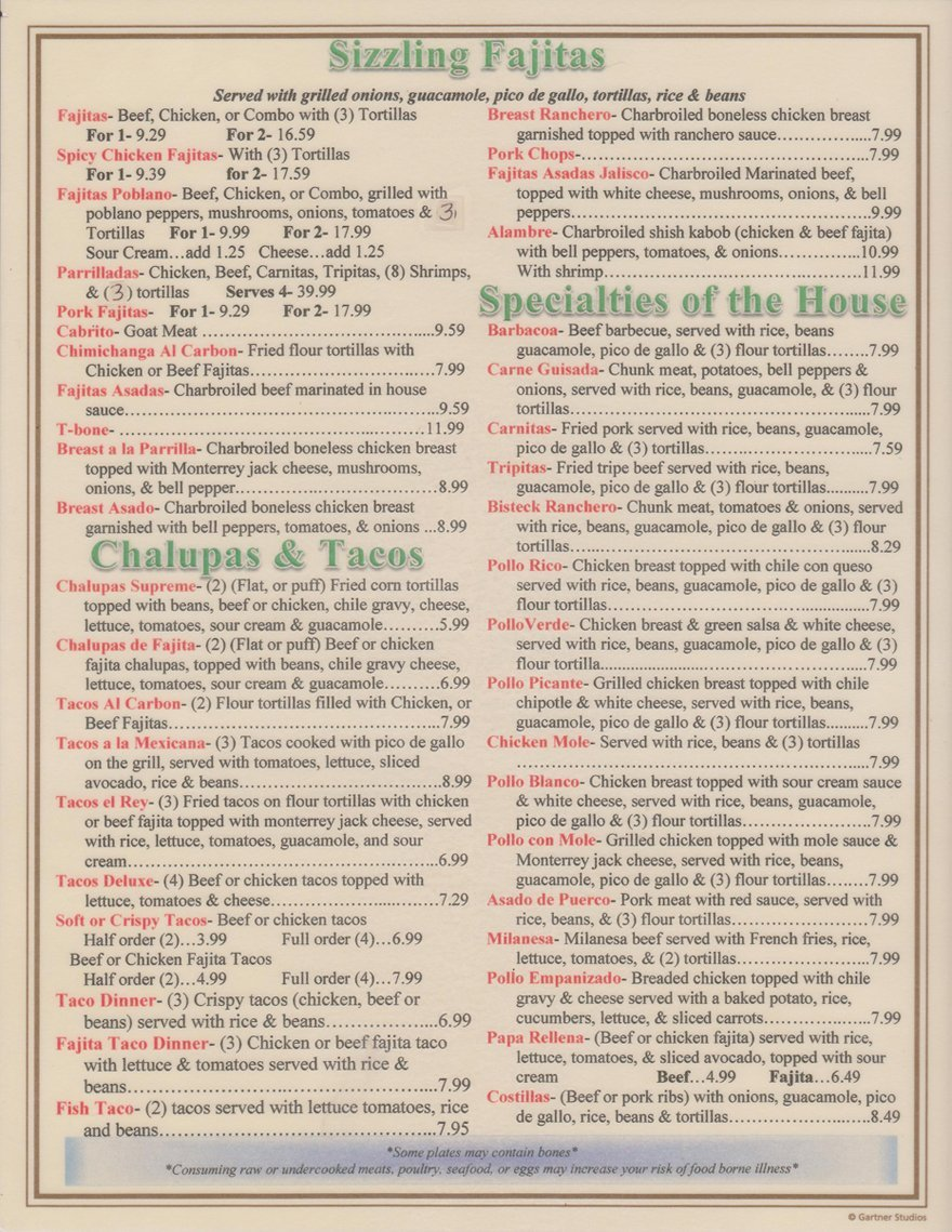 Mexican Restaurant - Houston and Dickinson, TX - Los Ramirez Mexican Restaurant - Dinner Menu 1