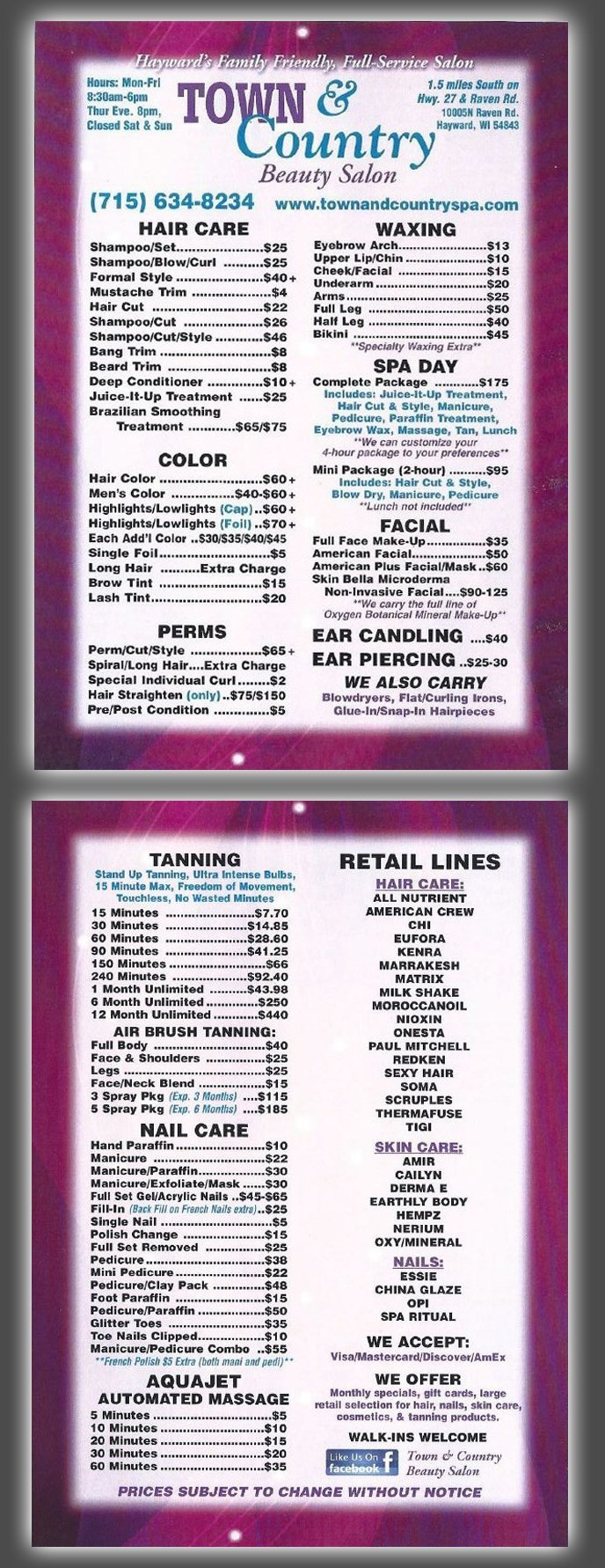 Services and Pricing   Town & Country Beauty Salon   Hayward, WI   715-634-8234