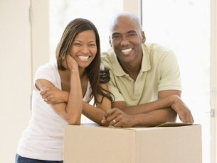 Couple inside their new house