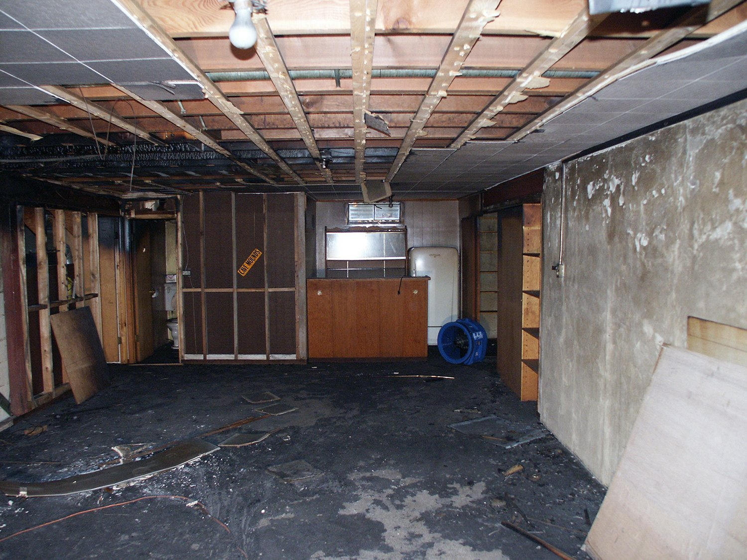 damaged basement room of a house