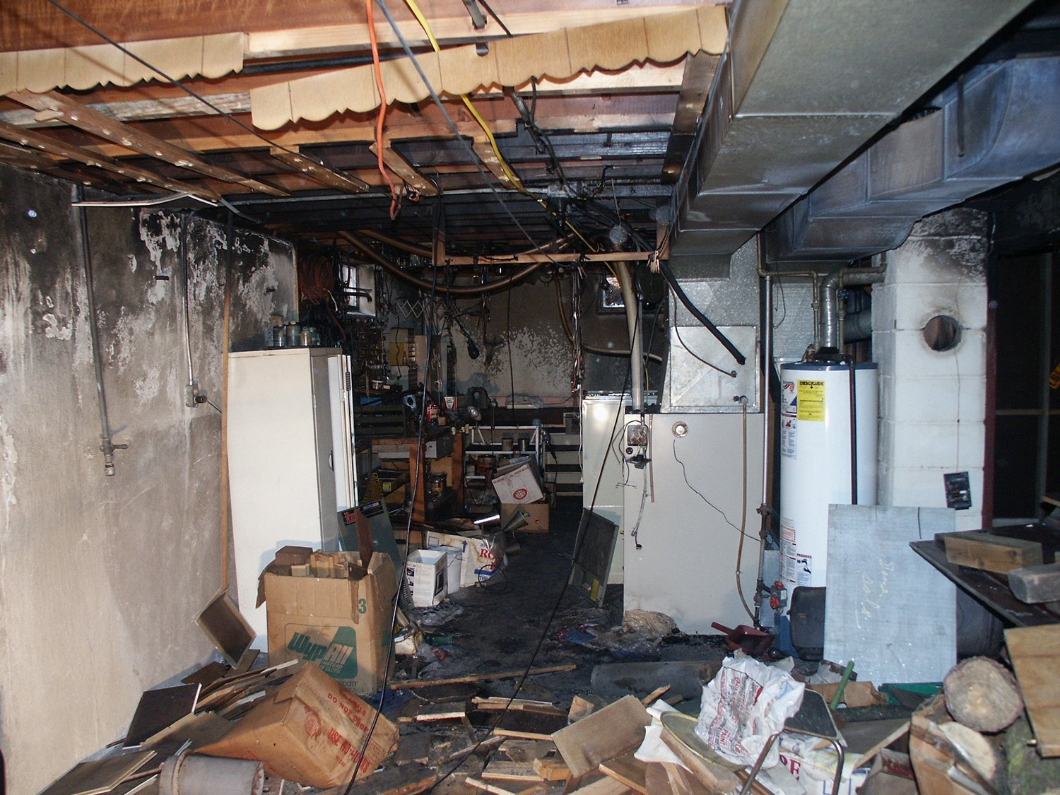 damaged furnace room of a residential house