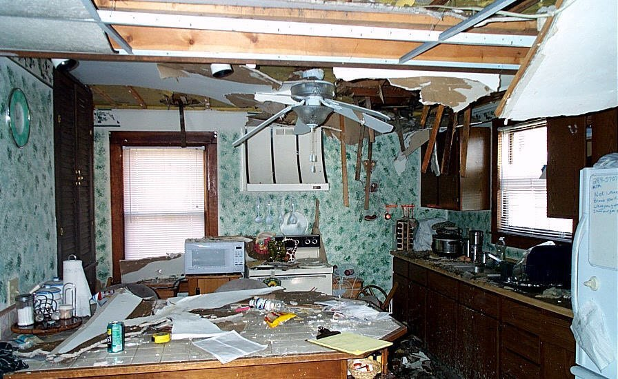 damaged kitchen of a house