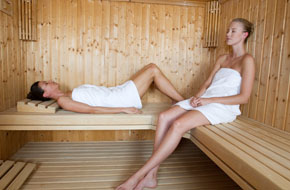Woman on sauna