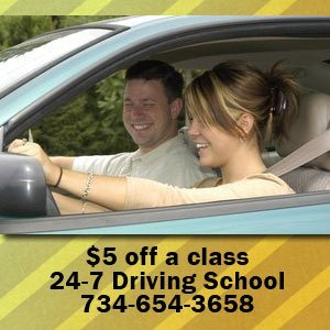 Driving School - Monroe, MI - 24-7 Driving School - driving lesson - $5 off a class 24-7 Driving School 734-654-3658