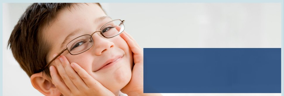 Child wearing eye glasses