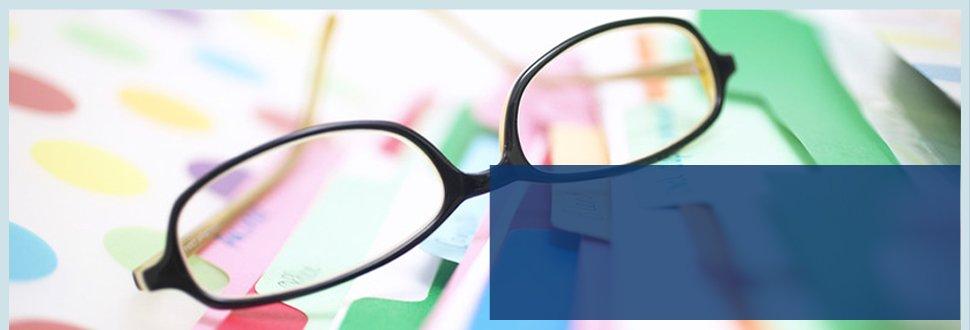 Eyeglass on folder