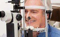 Man having eye check up