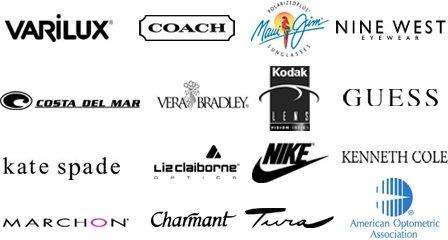Varilux, Coach, Maui Jim, Nine West, Costa Delmar, Vera Bradley, Kodak lens, Guess, Kate Spade, Liz Claiborne, Nike, Kenneth Cole, Marchon, Charmant, Tura, American Optometric Association