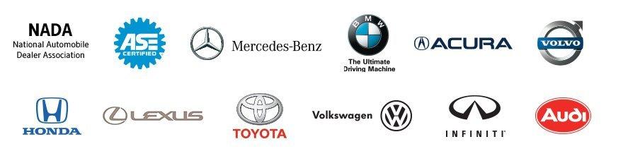 NADA, ASE-Certified, and Car brand logos