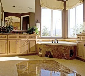 Bathroom with corner tub