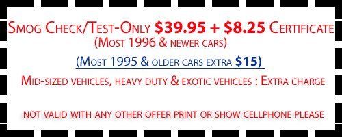 $5 OFF Any Smog Check Not Valid With Any Other Offer Print Or Show Cellphone