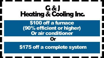 Air Conditioning - Hudsonville, MI  - G & J Heating & Cooling Incorporated - $100 off a furnace (90% efficient or higher) Or air conditioner Or $175 off a complete system