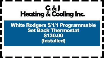 Furnace - Hudsonville, MI  - G & J Heating & Cooling Incorporated - White Rodgers 5/1/1 Programmable Set Back Thermostat $130.00 (Installed)