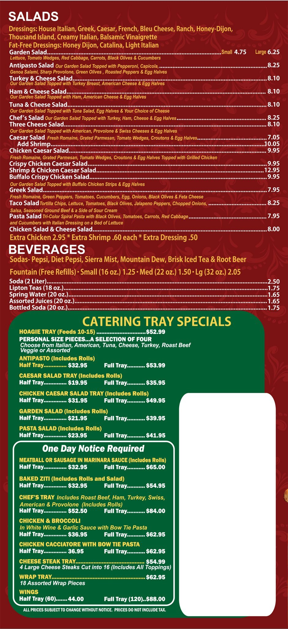 Gaetano's Steaks & Subs Menu