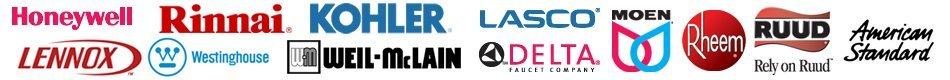 Honeywell, Lennox, Rinnai, Westinghouse, Kohler, Well-McLain, Lasco, Delta, Moen, Rheem, Ruud, American Standard