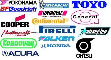Yokohama | Michelin | Toyo | BF Goodrich | Uniroyal | General | Cooper | Continental | Mastercraft Tires | Pirelli | Starfire Tires | Cordovan | Falken | Honda | Acura | Ohtsu