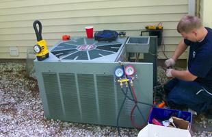 Man repairing a heater