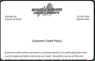 Concrete Stamps   Hillsdale, MI   Becker & Scrivens Concrete Products   517-437-4250