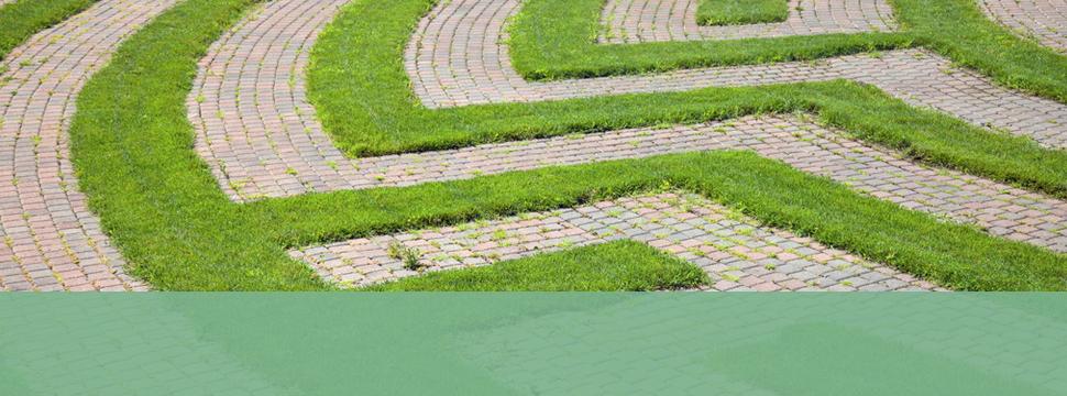 Grass with cobblestone