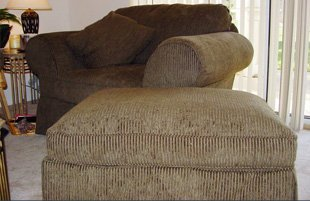 Newly upholstered couch and ottoman