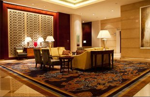 Lobby for five stars hotel with an upholstered couches
