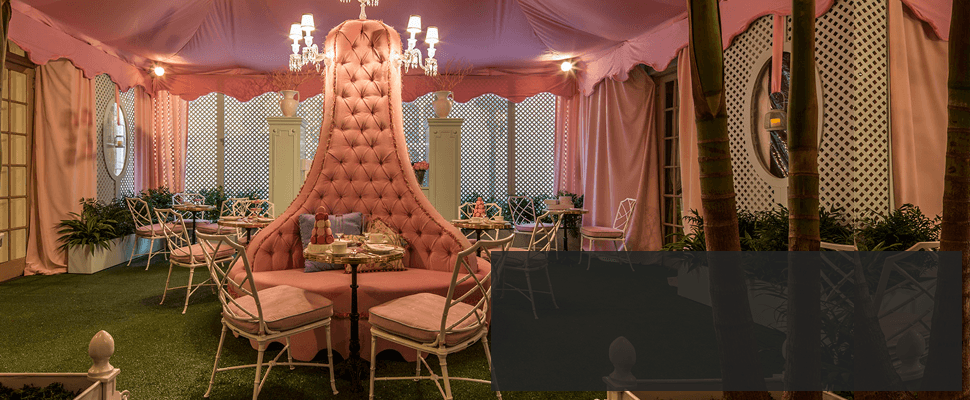 Upscale sofa in a decorated tent