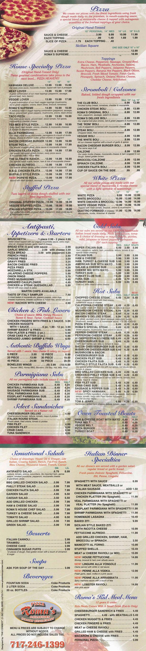 Roma's Pizza & Restaurant  - Menu  - Dallastown, PA