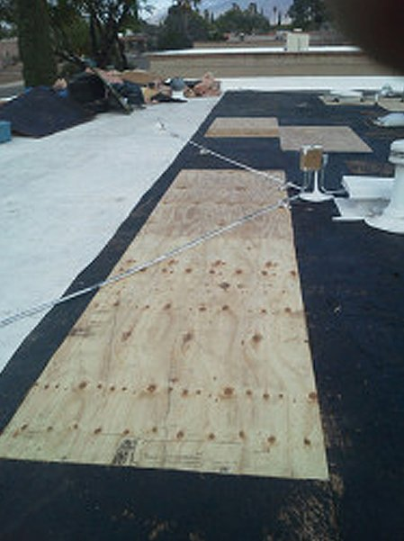 Roofing materials on the top of roof