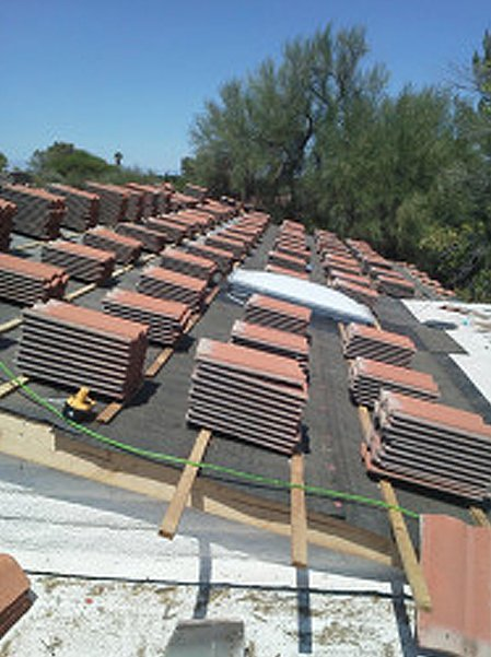 Roof tiles on top of the roof