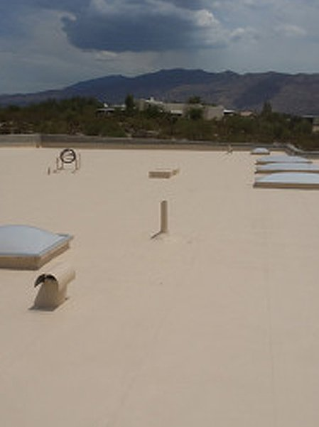 Commercial flat roofs and mountain view