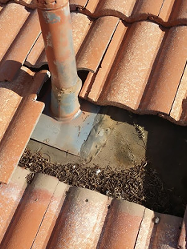 Residential tile roof and dust