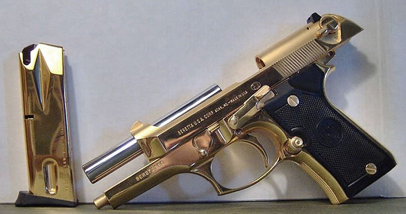 Beretta in Bright 24k Gold with Matte Rounds