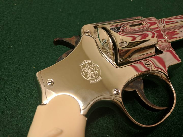 S&W Triple Lock in Bright Nickel with Case Color Hammer and Trigger
