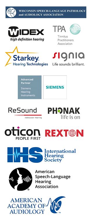 Wisconsin Speech-Language Pathology and Audiology Association, Widex, TPA, Starkey, Signia, Siemens, ReSound, Phonak, Oticon, Rexton, IHS, ASHA, American Academy of Audiology