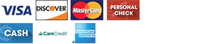 Visa | Discover | MasterCard | Personal Check | Cash | CareCredit | Amex