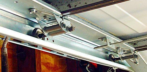 Tight shot of a garage door mechanism