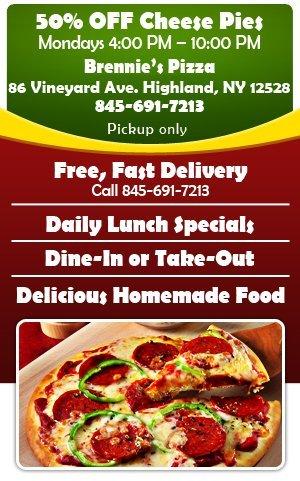 Pizza Restaurant - Highland,  NY    - Brennie's Pizza
