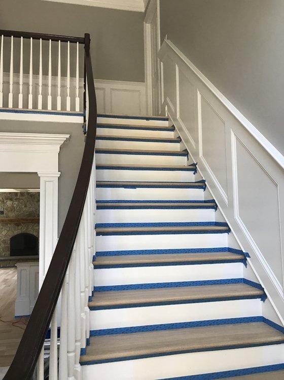 Hardwood stairway - before