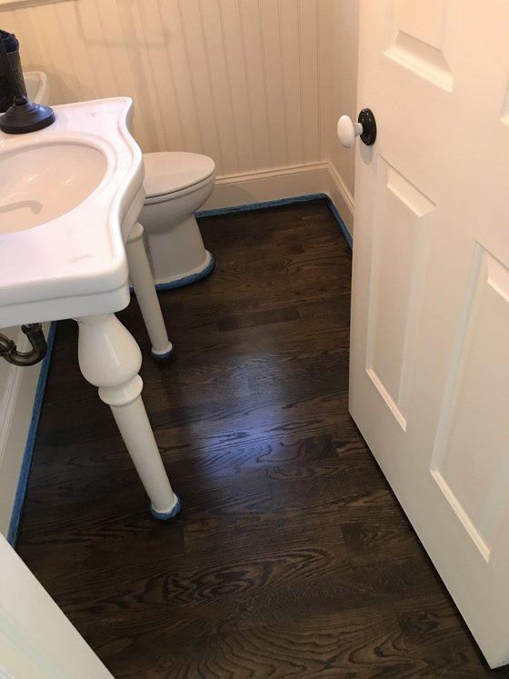 Hardwood floor in bathroom - after