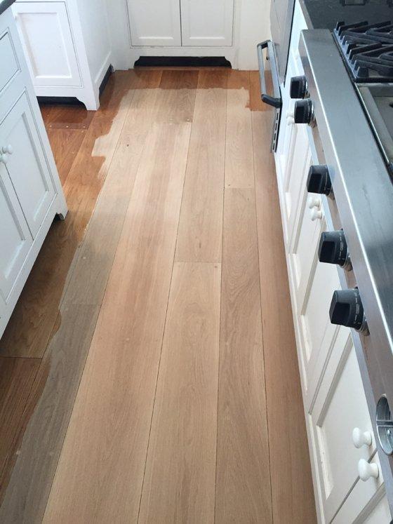 Kitchen hardwood floor - before