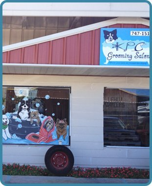 The storefront of the pet grooming center