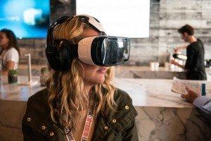Woman using virtual reality headset at SXSW