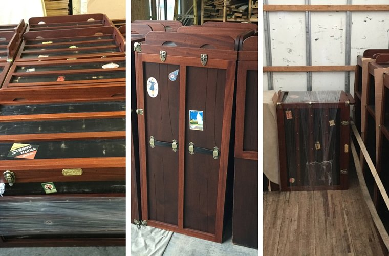 Composition picture of Bachelor Chest Combos ready to ship to Stoney Creek Inn in Galena, IL_custom hotel furniture by J Thompson Builders