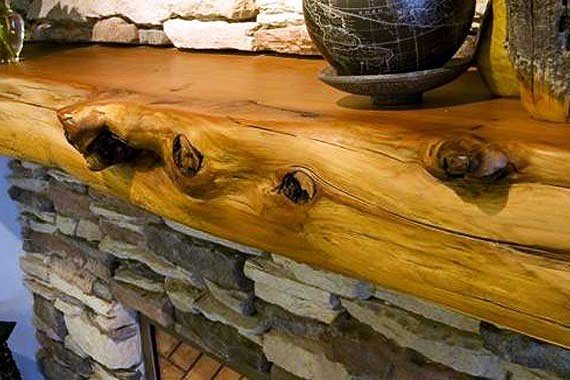 We specialize in knotty, gnarly, natural wood mantels.