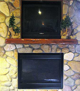 Our signature wavy timber mantel.