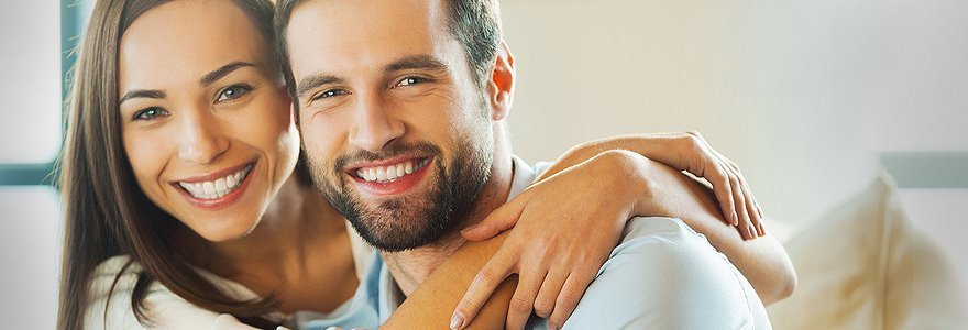 Smiling male and female couple