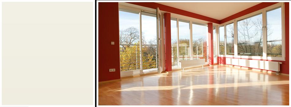 Room with glass window and hardwood flooring
